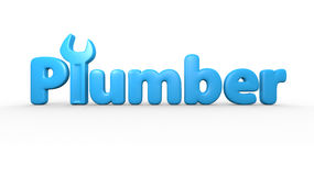 Plumber text logo Stock Images