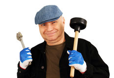 Plumber with a tool. Royalty Free Stock Photography
