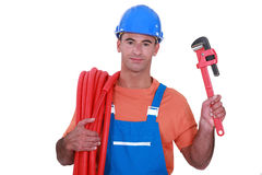 Plumber with a tool Royalty Free Stock Photography