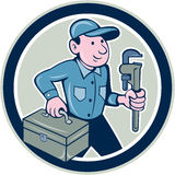 Plumber Toolbox Monkey Wrench Circle Cartoon Royalty Free Stock Photography