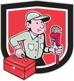 Plumber Toolbox Monkey Wrench Shield Cartoon Stock Photography