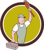 Plumber Toolbox Raising Monkey Wrench Circle Cartoon Royalty Free Stock Photos