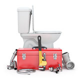 Plumber tools. With monkey wrench, toolbox, toilet bowl, faucet and sink - 3D illustration Stock Images