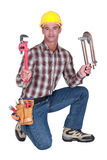 Plumber with tools Stock Photos
