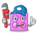 Plumber toy brick mascot cartoon stock illustration