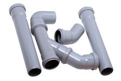 Plumber tubes on white Stock Photo