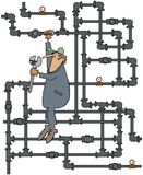 Plumber turning a valve. This illustration depicts a plumber hanging from a tangle of gas pipes about to turn a valve with a large wrench Stock Image
