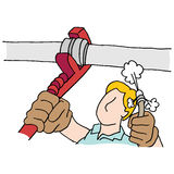 Plumber using wrench and high pressure hose on pipe Royalty Free Stock Image
