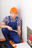 Plumber during valves reparation Royalty Free Stock Photos