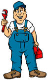 The Plumber. Vector Cartoon of a Plumber Ready for Work Royalty Free Stock Photos