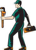 Plumber Walking Carry Toolbox Wrench Woodcut Stock Images