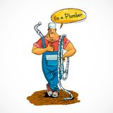 Plumber with water pipe and hose Royalty Free Stock Images