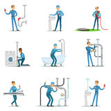 Plumber And Water Supply Plumbing Specialist At Work Doing Repairs Set Of Cartoon Character Scenes Stock Photo