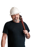 Plumber on the way to the job site stock photo