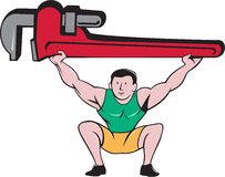 Plumber Weightlifter Lifting Monkey Wrench Cartoon Royalty Free Stock Photo
