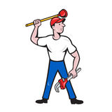 Plumber Wield Wrench Plunger Isolated Cartoon. Illustration of a plumber wielding holding monkey wrench plunger done in cartoon style on isolated background Stock Image