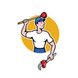 Plumber Wielding Wrench Plunger Cartoon. Illustration of a plumber wielding holding monkey wrench plunger done in cartoon style on isolated background Royalty Free Stock Photography