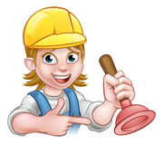 Plumber Woman Holding Plunger. A plumber handyman cartoon character holding a plunger and pointing Stock Image