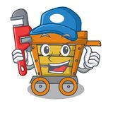 Plumber wooden trolley mascot cartoon. Vector illustration vector illustration