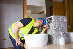 Plumber at work Royalty Free Stock Photo
