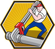 Plumber Worker With Adjustable Wrench Cartoon. Cartoon illustration of a plumber worker repairman tradesman with adjustable monkey wrench repairing pipeline Stock Photos