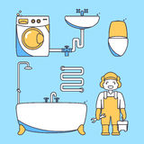 Plumber worker cartoon character. Male character standing in bathroom holding tool box and plumber wrench. Vector. Illustration in flat style design Stock Image