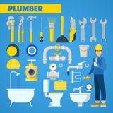 Plumber Worker with Tools Set and Bathroom Elements Royalty Free Stock Images