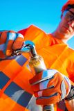 Plumber Worker. With Wrench Fixing Some Elements of Plumbing System. Closeup Photo Royalty Free Stock Photography