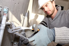 Plumber working Royalty Free Stock Image