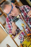 Plumber working with blow torch royalty free stock photos