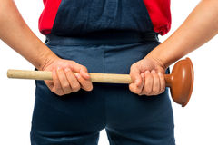 Plumber in working clothes Stock Photos