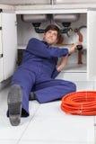 Plumber working hard Stock Photo
