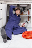 Plumber worried about your work Royalty Free Stock Photography
