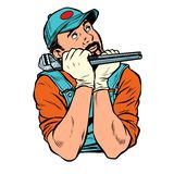 Plumber with wrench dreamer thinks. isolate on white background stock illustration