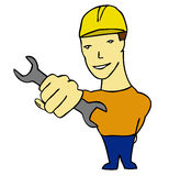 Plumber with wrench Stock Images