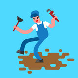 Plumber with wrench and plunger contour style. The plumber goes. Plumber with wrench and plunger contour style. plumber goes through dirty puddle of shit linear Royalty Free Stock Images