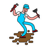 Plumber with wrench and plunger contour style. The plumber goes. Plumber with wrench and plunger contour style. plumber goes through dirty puddle of shit linear Royalty Free Stock Photos