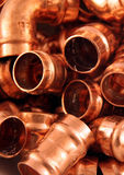 Plumbers copper fittings stock photos