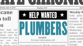 Plumbers job offer stock photography