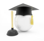 Plumbers school graduation cap on white background Royalty Free Stock Image