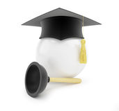 Plumbers school graduation cap on white background Stock Photography