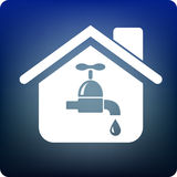 Plumbing. Home icon with water supply Royalty Free Stock Photography