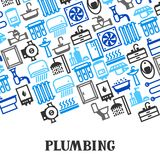 Plumbing background design. Illustration for sanitary engineering shop. Sale, service and installation Stock Photo
