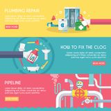 Plumbing Banner Set Royalty Free Stock Photos