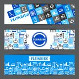 Plumbing banners design. Illustration for sanitary engineering shop. Sale, service and installation Royalty Free Stock Photos