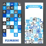 Plumbing banners design. Illustration for sanitary engineering shop. Sale, service and installation Stock Images