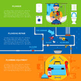 Plumbing Banners Set Stock Images