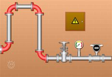 Plumbing in the basement Royalty Free Stock Photos