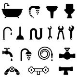 Plumbing and bathroom icons Royalty Free Stock Photography