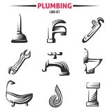 Plumbing Business Icon Vector Set in Vintage style for Logos. Faucet, pipe elements isolated on white background Royalty Free Stock Photos